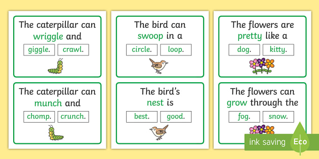 The Caterpillar Can Rhyming Sentence Word Cards - Crunching Munching Caterpillar, Sheridan Cain, life cycle of a butterfly, rhyme, literacy, reading,