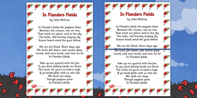 Remembrance Day Poem In Flanders Fields (A3) - Remembrance Day, poetry, poem, In Flanders Fields, banner, posters, sign, A3, John McCrae, 11th November