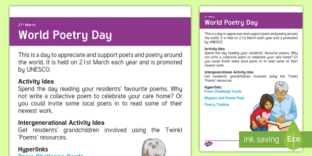 World Poetry Day Adult Guidance - Calendar Planning March 2017, World Poetry Day, Elderly Care, Care Homes, Acitivty Support, Ideas, A