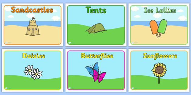 Editable Class Group Signs (Summer) - Summer, group signs, group labels, group table signs, table sign, teaching groups, class group, class groups, table label