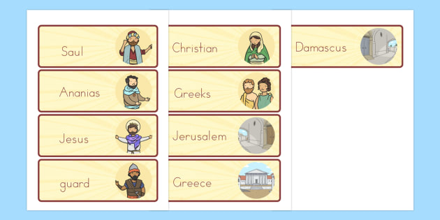 The Conversion of Saul Word Cards - usa, america, visual, aids, literacy, words, bible stories, conversion, saul, road to damascus