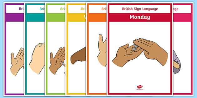 British Sign language Days of the Week Display Posters - BSL