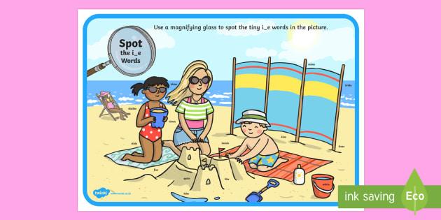 Phase 5 i-e Words Beach Scene Magnifying Glass Activity Sheet