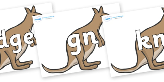 Silent Letters on Kangaroos - Silent Letters, silent letter, letter blend, consonant, consonants, digraph, trigraph, A-Z letters, literacy, alphabet, letters, alternative sounds