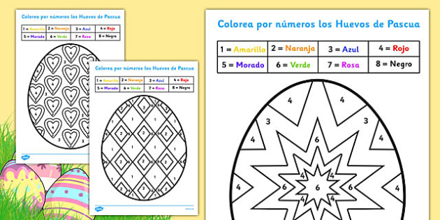 Easter Colour by Number Spanish - spanish, colouring, sheets, colouring by numbers, colour by number, easter, easter numbers, easter colouring, easter colouring sheets, counting, numeracy, colour recognition, colouring activity