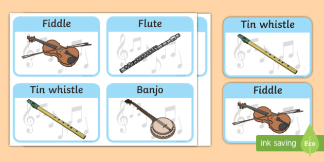 Traditional Irish Musical Instruments Listening and Responding Activity Sheet