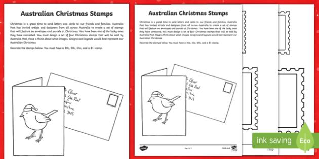 Australian Christmas Stamps Activity Sheet-Australia