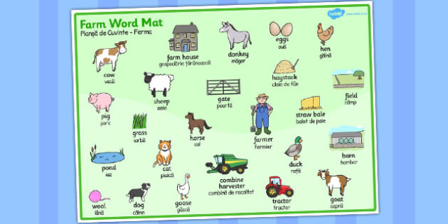 On the Farm Word Mat Romanian Translation - romanian, word, mat