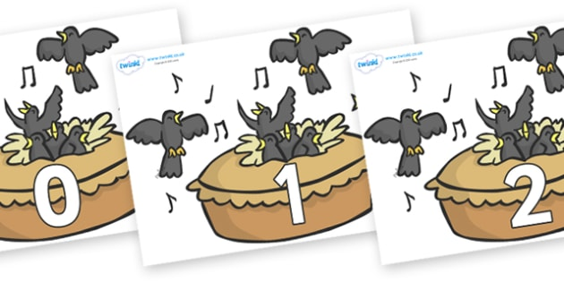 Numbers 0-50 on Blackbirds in a Pie - 0-50, foundation stage numeracy, Number recognition, Number flashcards, counting, number frieze, Display numbers, number posters