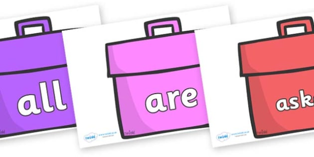 Tricky Words on Book Bags - Tricky words, DfES Letters and Sounds, Letters and sounds, display, words