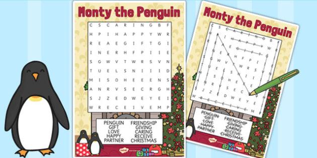 Monty the Penguin Wordsearch - monty, penguin, wordsearch, words