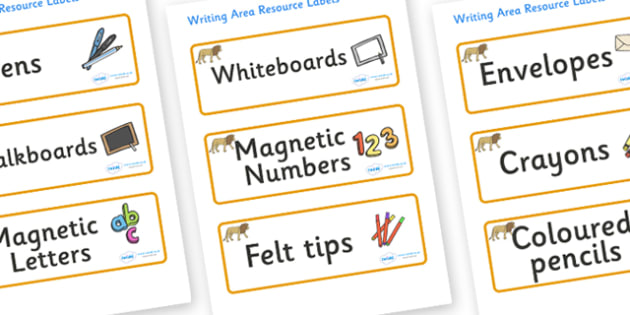 Lion Themed Editable Writing Area Resource Labels - Themed writing resource labels, literacy area labels, writing area resources, Label template, Resource Label, Name Labels, Editable Labels, Drawer Labels, KS1 Labels, Foundation Labels, Foundation S