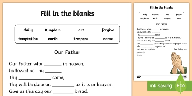 our father fill in the blanks activity sheet confession. Black Bedroom Furniture Sets. Home Design Ideas