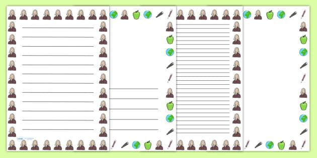 Isaac Newton Page Borders - isaac newton, page borders, borders, themed page borders, writing frames, writing templates, writing aid, line guides, guides
