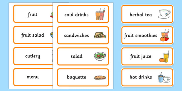 Healthy Eating Cafe Role Play Word Cards - Healthy, Eating, Food