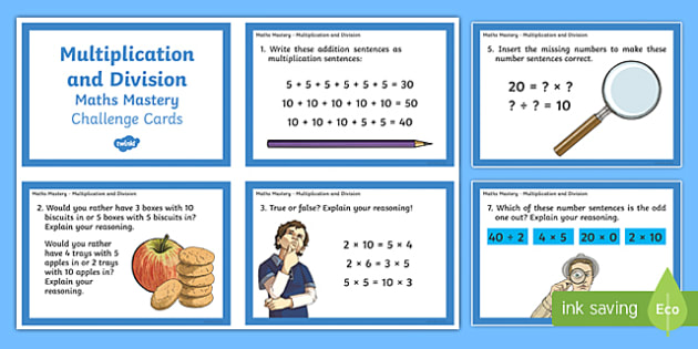 Year 2 Multiplication and Division Maths Mastery Challenge Cards - year 2, maths mastery, maths, mastery, multiplication and division, challenge cards, challenge, cards