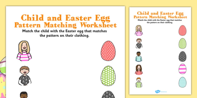 Child and Easter Egg Pattern Matching Activity - easter, pattern