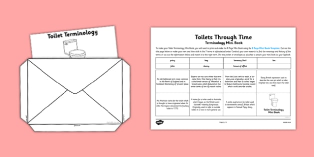 Toilets Through Time Toilet Terminology Mini Book - Loo, Dunny, Bog, toilets through time, terminology, toilet, mini book