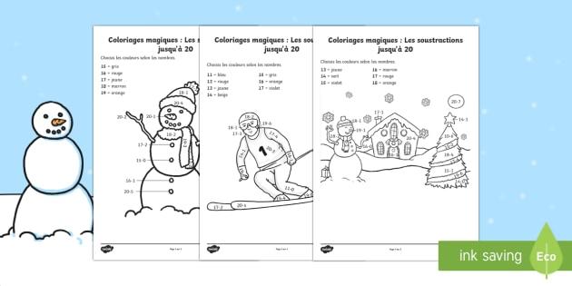Coloriage magique : Les soustractions jusqu'à 20 - L'hiver  - Hiver, winter, motricité, fine, coloriage, nombres, magique, colouring, numbers, maths, mathématiq - Hiver, winter, motricité, fine, coloriage, nombres, magique, colouring, numbers, maths,