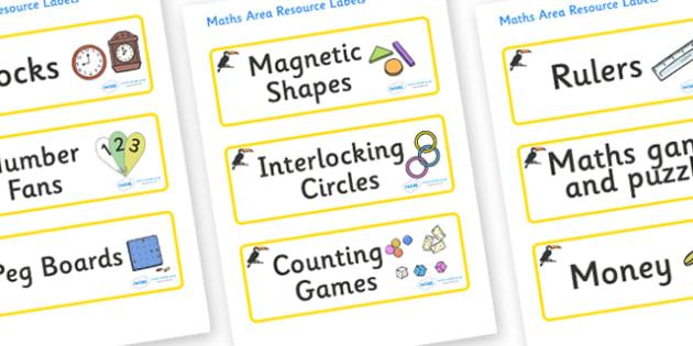 Toucan Themed Editable Maths Area Resource Labels - Themed maths resource labels, maths area resources, Label template, Resource Label, Name Labels, Editable Labels, Drawer Labels, KS1 Labels, Foundation Labels, Foundation Stage Labels, Teaching Labe
