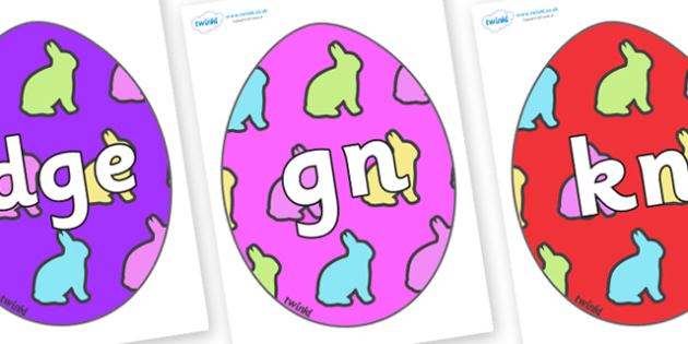 Silent Letters on Easter Eggs (Rabbit) - Silent Letters, silent letter, letter blend, consonant, consonants, digraph, trigraph, A-Z letters, literacy, alphabet, letters, alternative sounds