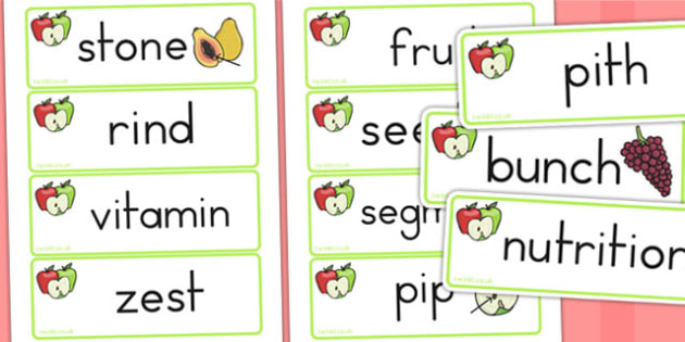 Fruit and Vegetable Related Word Cards - healthy, visual aid