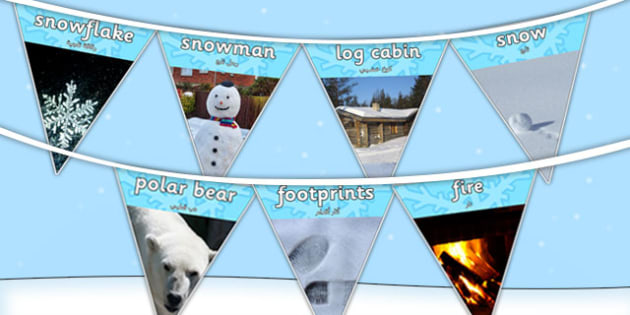 Winter Photo Display Bunting Arabic Translation - arabic, winter, bunting, photo, display