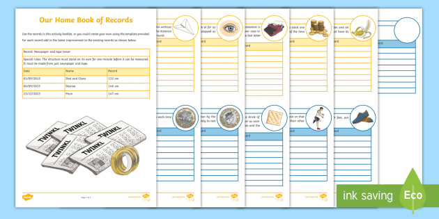 Our Home Book of Records Activity Booklet - Home Education Maths Resources, Guinness Book of records, world records, maths in context, PB, compe