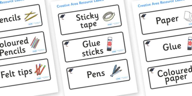 Pukeko Themed Editable Creative Area Resource Labels - Themed creative resource labels, Label template, Resource Label, Name Labels, Editable Labels, Drawer Labels, KS1 Labels, Foundation Labels, Foundation Stage Labels