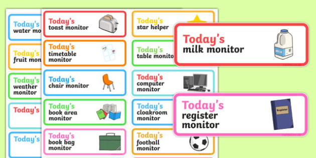 Classroom Monitor Stickers - classroom monitor, stickers, class, monitor, job, responsibility