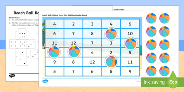 Summer Vacation Beach Ball Roll and Cover Dice Addition Activity - canada, Number, Dice, Counting, Adding