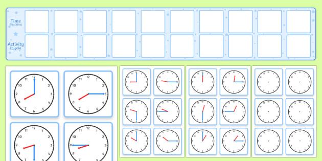 Visual Timetable Display With Clocks Polish - English / Polish - Polish-translation, time, clock, timetable, diary, calendar