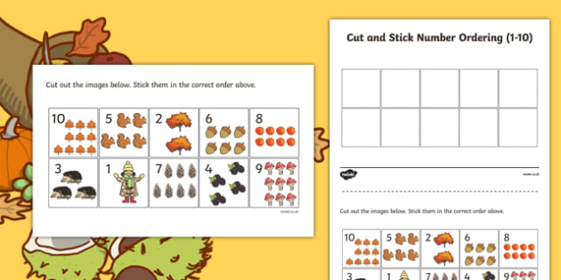 Autumn Themed Cut and Stick Number Ordering Sheets 1-10 - autumn, cut, stick, number, ordering