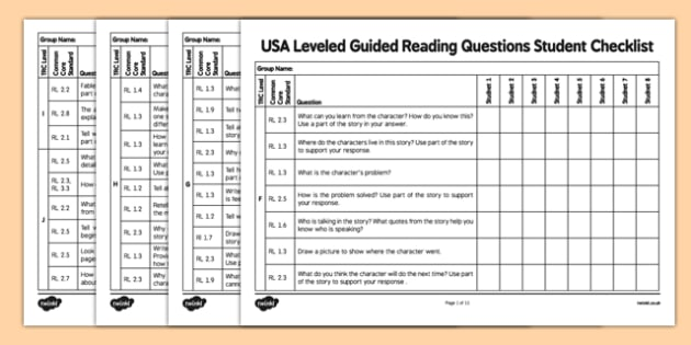 USA Leveled Guided Reading Questions Student Checklist - usa, america, TRC, MCLASS, DIBELS, Common Core, Guided Reading, Question Stems