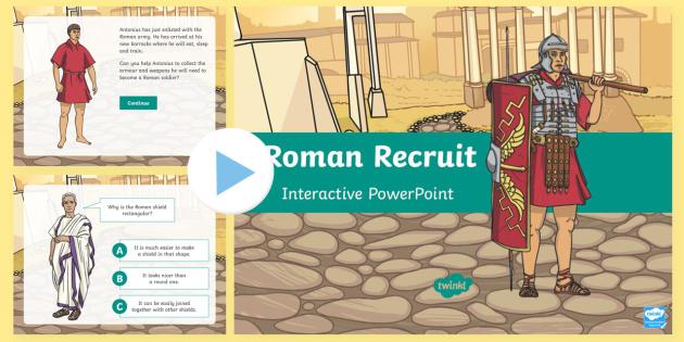 Roman Recruit PowerPoint - Romans, soldier, armour, army, weapon, shield, backpack, sandals, helmet, belt, sword, spear, javeli