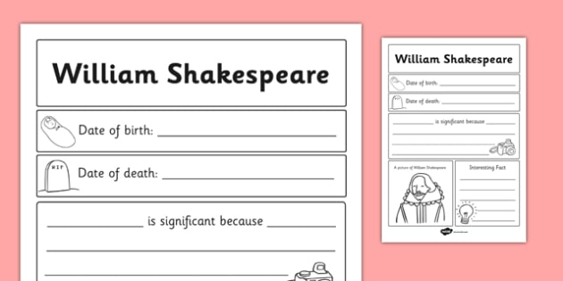 William Shakespeare Significant Individual Writing Frame - write