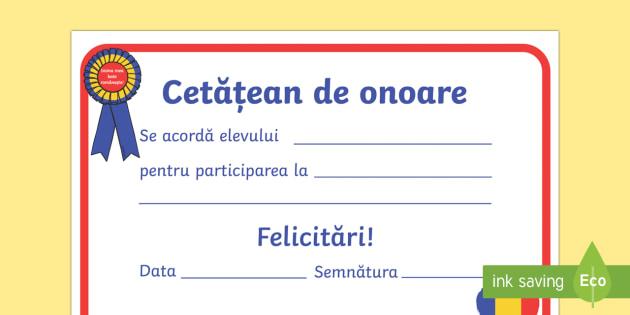 Diplomă   Cetățean de onoare