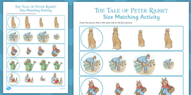 The Tale of Peter Rabbit Size Matching Worksheets - peter rabbit