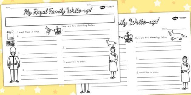 Royal Family Write Up Worksheet - royality, queen elizabeth