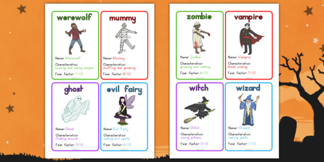 Halloween Monster Top Cards Game - fun, fun and games, spooky, activity, filler, topic