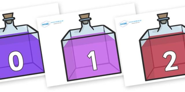 Numbers 0-50 on Perfume Bottles - 0-50, foundation stage numeracy, Number recognition, Number flashcards, counting, number frieze, Display numbers, number posters