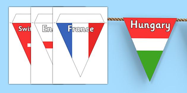 Euro 2016 Country Flag Bunting - euro 2016, football, euro, 2016, country, flag, bunting