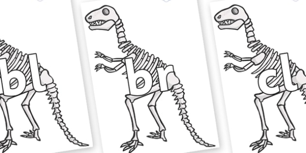 Initial Letter Blends on Dinosaur Skeletons - Initial Letters, initial letter, letter blend, letter blends, consonant, consonants, digraph, trigraph, literacy, alphabet, letters, foundation stage literacy
