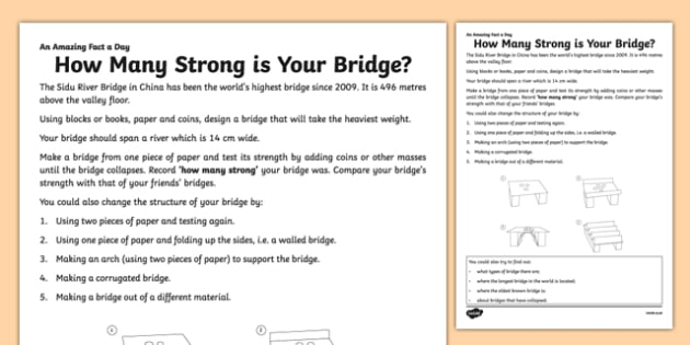 How Many Strong Is Your Bridge? Activity Sheet - amazing fact a day, activity sheet, activity, activities, strong, bridge, worksheet