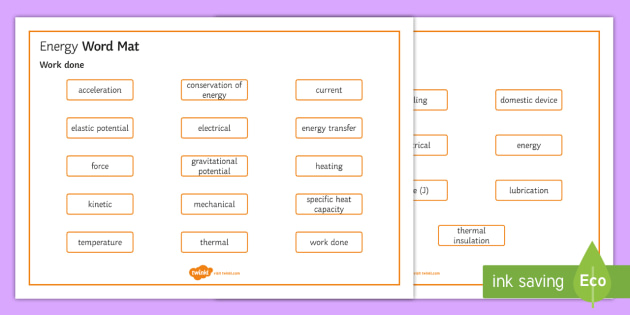 OCR Gateway Physics Topic P7 Energy Word Mat - Word Mat,  gcse, keywords, energy, kinetic, gravitational potential, elastic potential, thermal, che