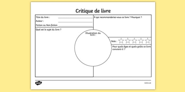 Critique de livre Book Review Worksheet French - french, book review, book review sheet, writing a book review, book review template, book review writing frame, ks2 literacy, reading