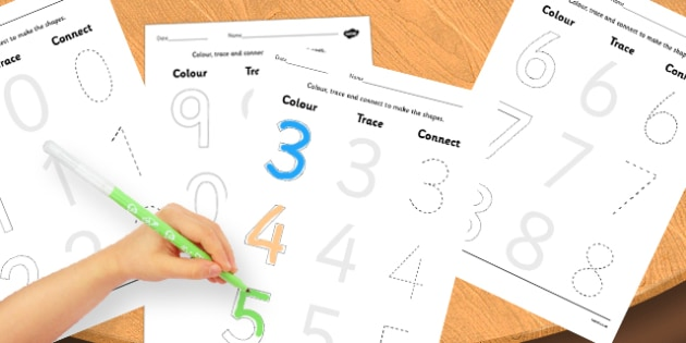 Numbers 0-10 Colour Trace and Join the Dots - trace, join, colour
