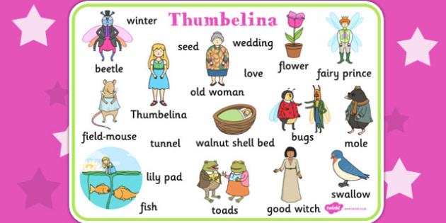 Thumbelina Word Mat - stories, books, visual aid, keywords, read