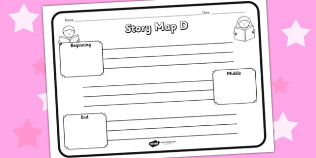 Story Map D Worksheet - story map D, story, stories, story map, story map worksheet, map stories, story worksheets, worksheets, literacy, english, reading