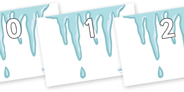 Numbers 0-50 on Icicles - 0-50, foundation stage numeracy, Number recognition, Number flashcards, counting, number frieze, Display numbers, number posters